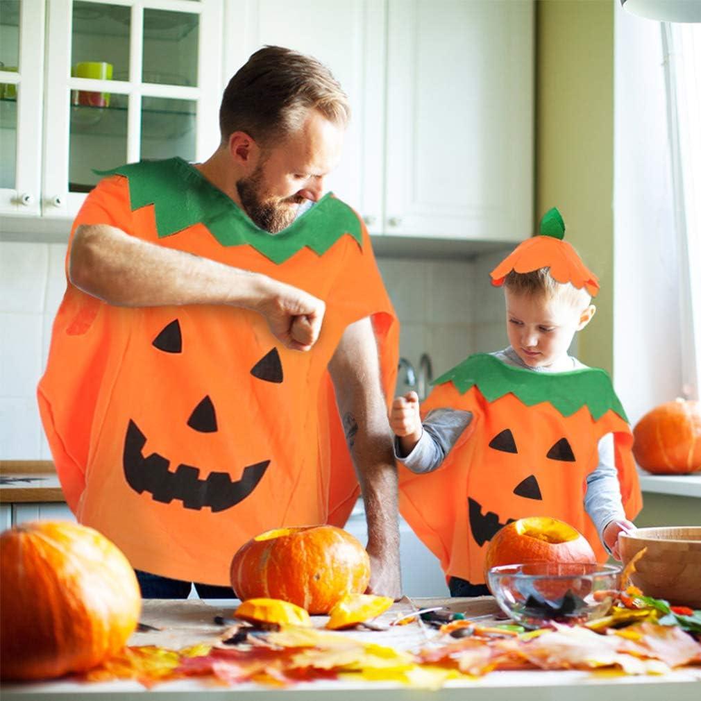 Trooer 2 Sets Halloween Pumpkin Costume Kids Parent Suit with Pumpkin Hat /& Orange Bag for Funny Party Cosplay