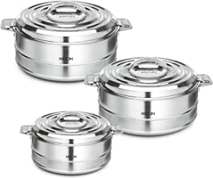 Milton Fortuner 3-Pc Set Insulated Keep Hot/Cold Thermo Stainless Steel Casseroles, 1.0L/1.5L/2.5L (Silver) (3-Pc Set)