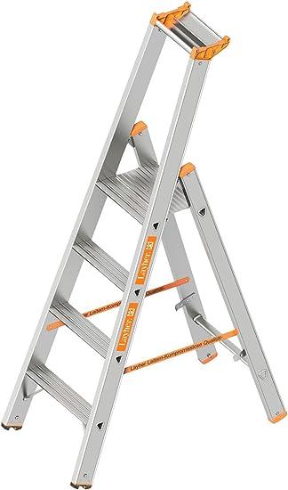 Layher 1064004 HYMER – Escalera de tijera (Topic con 4 niveles de amplia, aluminio escalera plegable con porche, longitud 1.70 m: Amazon.es: Bricolaje y herramientas