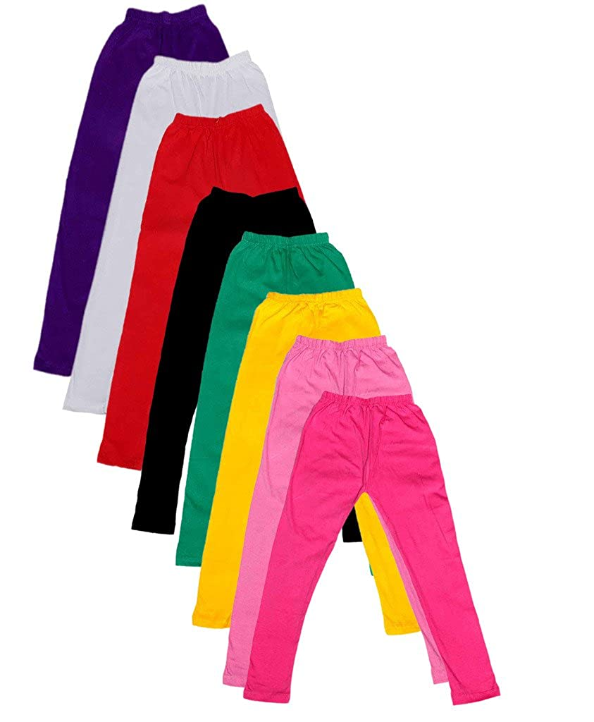 Indistar Big Girls Cotton Full Ankle Length Solid Leggings -Multiple Colors-9-10 Years Pack of 8