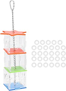 Jeanoko Multilayer Stability Bird Parrot Forage Box Durability Hanging Treat Foraging Toy Transparent Acrylic Food Holder