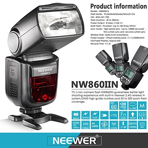 Neewer 2.4G Wireless 1/8000 HSS TTL Master/Slave Flash Speedlite for Nikon DSLR Camera with 2000mAh Li-ion Battery to Provide 650 flashes Recycle in 1.5s NW860IIN by Neewer