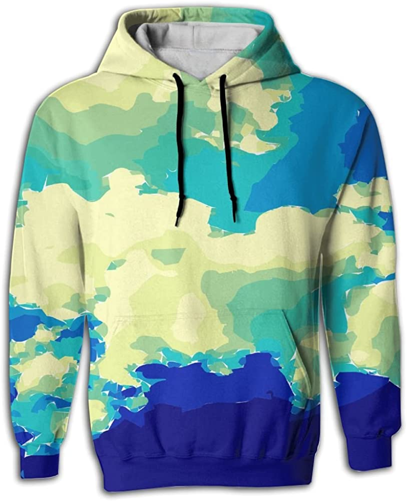 FUSALIN Sky BlueUnisex 3D Printed Sweatshirt Casual Pullover Hoodie With Big Pockets