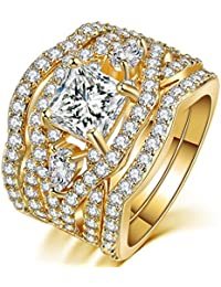 Women's 3 PCS Vintage Wedding Ring Sets 18K Gold Plated Princess Cut Synthetic Diamond Halo Infinity Bridal Promise Rings for her