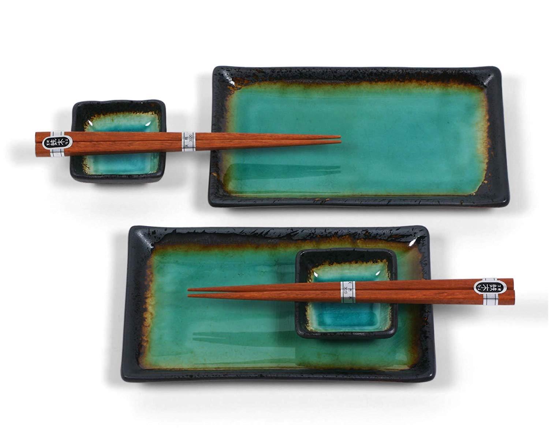 Cobalt Blue MIYA Kosui Sushi Set for 2