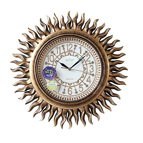 Imoerjia High-End Antique European American Wall Clock Living Room Personalized Solar Decoration Creative Mute Quartz Wall Clock, 18 Inch,H069Bk(Antique Copper-Colored)