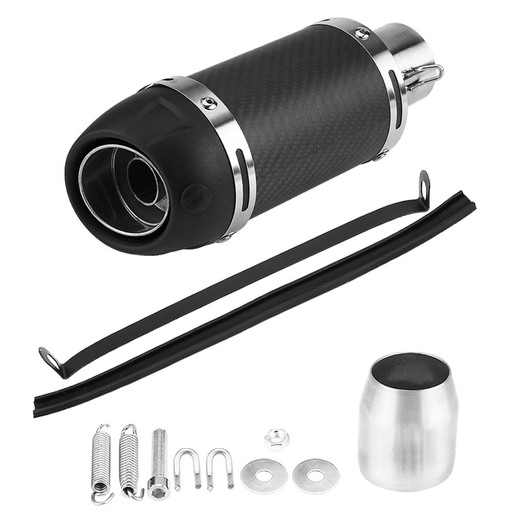 Keenso Stainless Steel 51mm Universal Motorcycle Modified Real Matte Carbon Fiber Exhaust Muffler Pipe with DB Killer