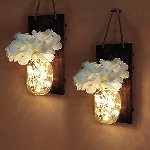 Mason Jar Rustic Wall Sconces,Romantic Home Decor,Hemp Rope Iron Hooks, Silk Hydrangea and LED Strip Lights Design for Wall Decoration