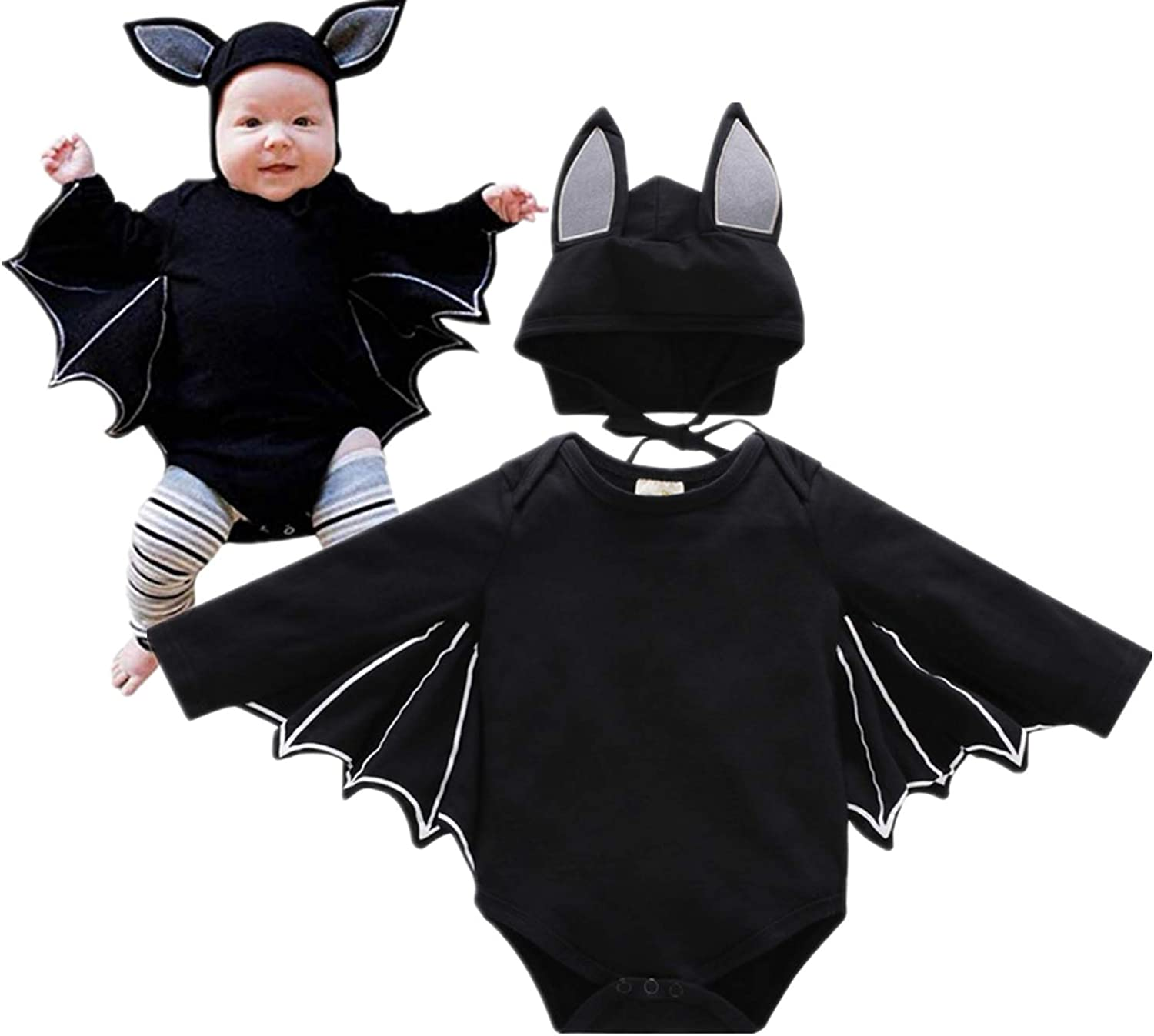 YQWEL Toddler Baby Outfits Set Halloween Batman Cosplay Costume Romper and Hat