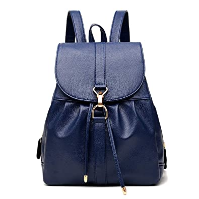 Women Leather Backpack Ladies Waterproof Dayback Shoulder Bag Faux Leather  Travel Bag Schoolbags (Blue) 92e8b578d99ad