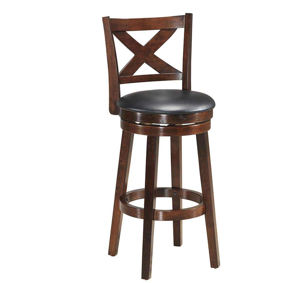 COSTWAY Bar Stools, Counter Height Dining Chair, Fabric Upholstered 360 Degree Swivel, PVC Cushioned Seat, Perfect for Dining and Living Room by COSTWAY