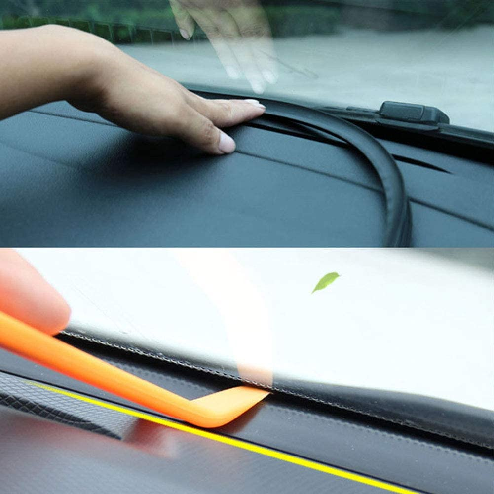 LYCOS3 1.6M T Shape Car Sound Insulation Sound Proof Rubber Seal Windshield Seal Strip Dust Proof Anti-noise Sealing Strips Trim Dashboard Windshield Edges 62inch