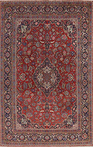 Antique Pre-1900 Handmade Floral Dabir Persian Carpet Area Rug 11x16 for Living Room