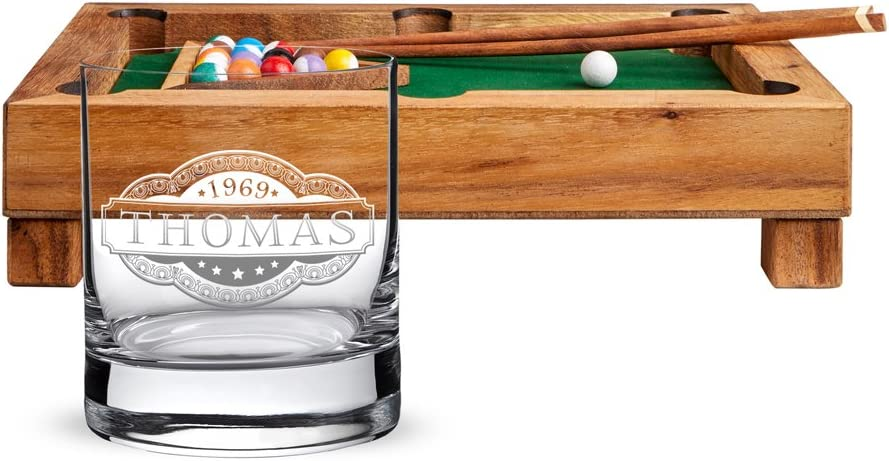 AMAVEL – Mini – Juego de Mesa de Billar de Acero Madera – Whisky Cristal – Personalizado con con [Nombres] – Tumbler – Parent: Amazon.es: Hogar