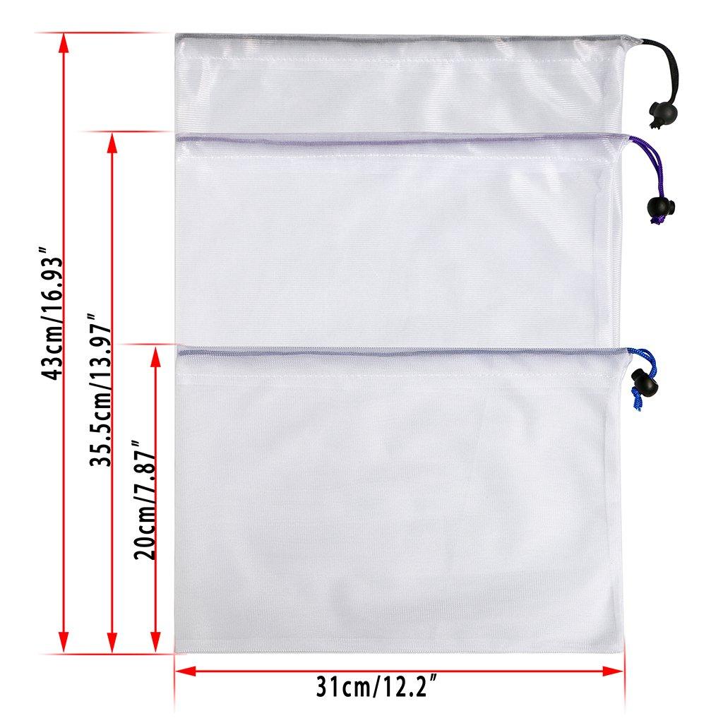 Lot de 6 respectueux de l/'environnement et lavables en maille avec cordon de serrage Btsky Sacs de rangement r/éutilisables Multicolor//White