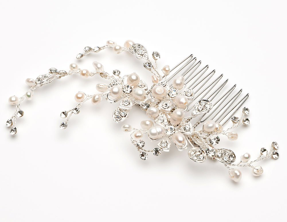 USABride Bridal Comb with Freshwater Pearl and Rhinestones Wedding Headpiece 2051 by USABride