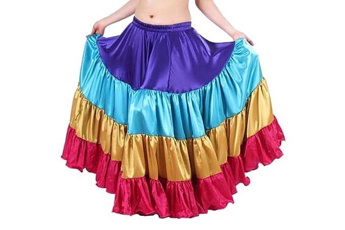 a6d1fd9b7 Indian Trendy Women's Satin 12 Yard 4 Tiered Gypsy Halloween Belly Dance  Skirt Flamenco (One