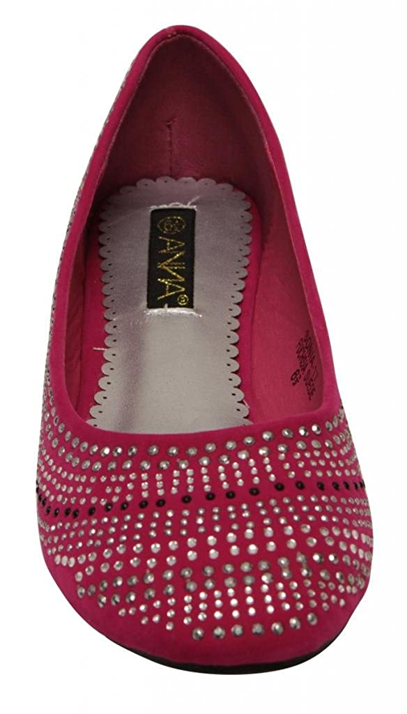 7a133240b61b0 ANNA Sonia-17 Women's ballerina flat slip on boat beads rounded toe suede  flat shoes Fuchsia 7