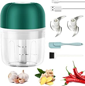 Mini Food Processor, 250ml Electric Garlic Blender Mincer Chopper, Wireless Food Slicer with Silicone Spatula & Two Brade for Kitchen Seasoning, Spice, Fruits, Vegetables - Green
