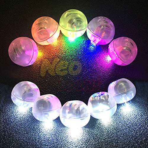 Neo LOONS 100pcs/lot Round Led Flash Ball Lamp LED Light up Balloon Lights long standby time for Paper Lantern Balloon Light Birthday Party Wedding Decoration,50 Pcs White Color&50 Pcs Colorful]()