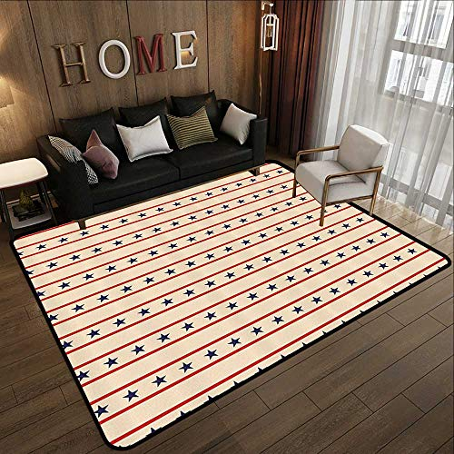 Carpet Flooring,Primitive Country Decor,Horizontal Borders Patriotic Stars Nostalgic USA Pattern,Cream Navy Blue Red 59
