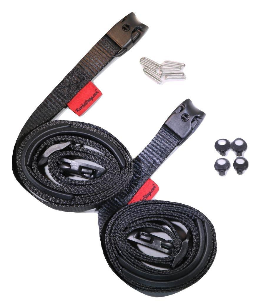 RatchetStrap.Com 2 pc Wind Strap Kit Hot Tub Secure ACW Loc Spa Hurricane Tie Down 12 Ft - Black