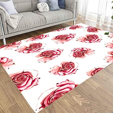 Capsceoll 3x5 Area Rugs Outdoor Area Rug Red Roses Painted In Watercolor Flowers Pattern Play Area Rugs For Bedroom Living Room Kitchen Kitchen Dining