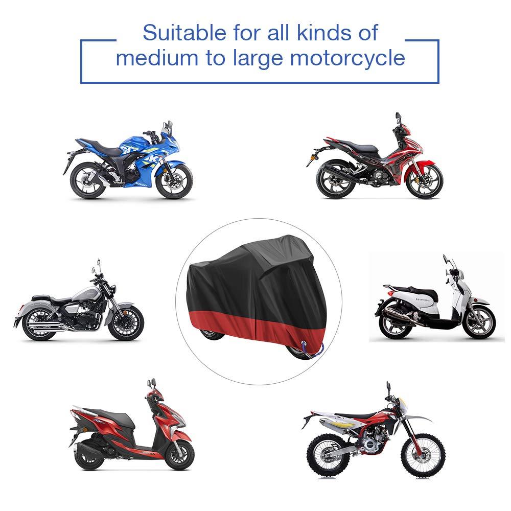 Housse de Protection pour Moto Housse de Moto Couverture Imperm/éable Housse de Protection pour Moto Exterieur en 210D Oxford Tissu pour Moto,Contre la Pluie,Les Rayons UV Noir 245 X 105 X 125CM