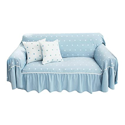 Sofa Cover Dot Blue White Thicken Cloth Gab Soft Easy Storage Full Cover  Modern Simple (