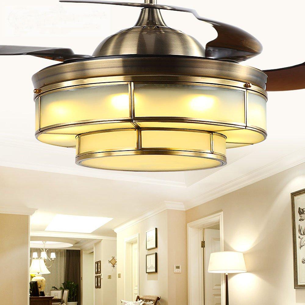 Huston Fan European-style Home Ceiling Fan Lights Living Room Stealth Remote Control Fan Lights Restaurant Ceiling Fan Lights Hotel Club Full Copper Lamp Fan With Chandelier Gold