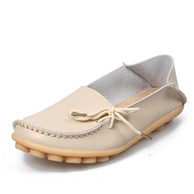 Soft Leisure Flats Zapatos de cuero de las mujeres Mocasines Mocasines de la madre ocasionales de conducción femenina Ballet Calzado Beige 4: Amazon.es: ...