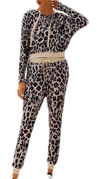dahuo - Chándal para Mujer, diseño de Leopardo, 2 Piezas Rosa ...