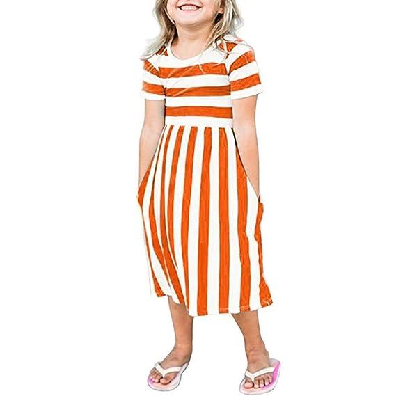 Vestido De Manga Corta Con Rayas A Rayas AIMEE7 Vestido A Rayas Para Niñas Ropa De Fiesta Para Niñas Vestidos De Playa Trajes Vestido De Verano: Amazon.es: ...