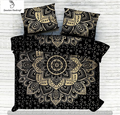 Indian Queen Tapestry, Throw Blankets, Quilt Coverlet, Bedroom Decor, Room decor, Indian Bedsheet, Bohemian Bedspread, Mandala Bedding, Bedsheet, Indian Cotton Duvet Cover With Two Decorative Pillow GANESHAM