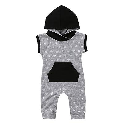 2018 Toddler Baby Kids Boy Girl Star Print Patchwork Hooded Romper With Pocket Jumpsuit Sunsuit