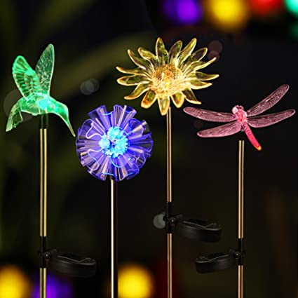 Bright ZEAL [Set of 4] LED Color Changing Solar Stake Lights Outdoor - Solar