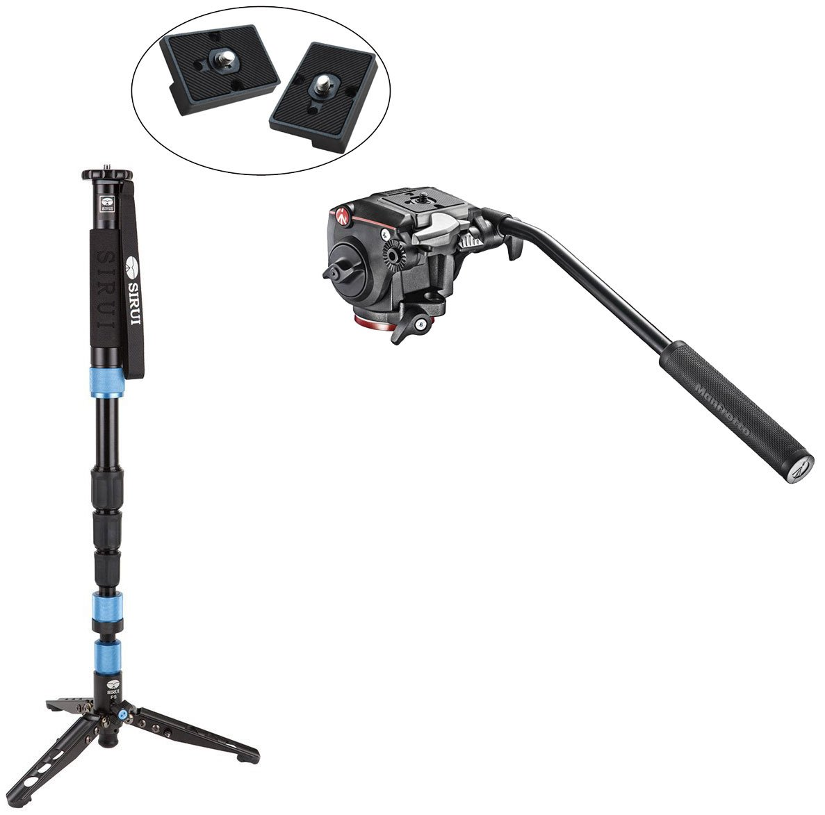 Sirui P-204S Aluminum Lightweight Photo/Video Monopod with Manfrotto XPRO Fluid Head with Fluidity Selector Plus Two Bonus Replacement Quick Release Plates for the RC2 Rapid Connect Adapter by Sirui