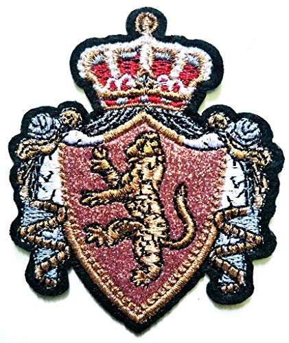 (PP Patch Beautiful Rampant Lion Crown Coat of Arms Crest Cartoon Sticker Kid Baby Girl Jacket T-Shirt Patch Sew Iron on Embroidered Sign Badge Costume Clothing)