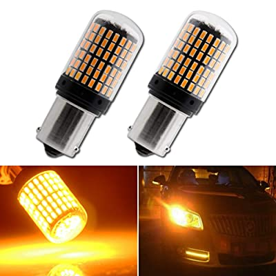 EverBright 2800Lumen 7507 Led Bulb, No Hyper Flash BAU15S PY21W 5009 12496 Front Rear Turn Signal Bulb, Canbus Error Free Led Turn Signal Lights Amber Yellow 3014 Chipset 144SMD (Pack of 2): Automotive