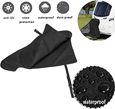 Xximuim Caravan Hitch Cover,Universal Waterproof Breathable Tow Hitch Cover Car Hook Connector Cover Tongue Jack Cover PVC Trailer Tow Ball Coupling Lock for Campervan Caravan