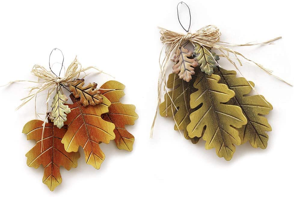 E-view Wooden Oak Tree Leaves Hanging Sign Autumn Decorative Wreaths for Harvest Thanksgiving Christmas Ornaments Fall Door Wall Porch Decor Indoor Outdoor