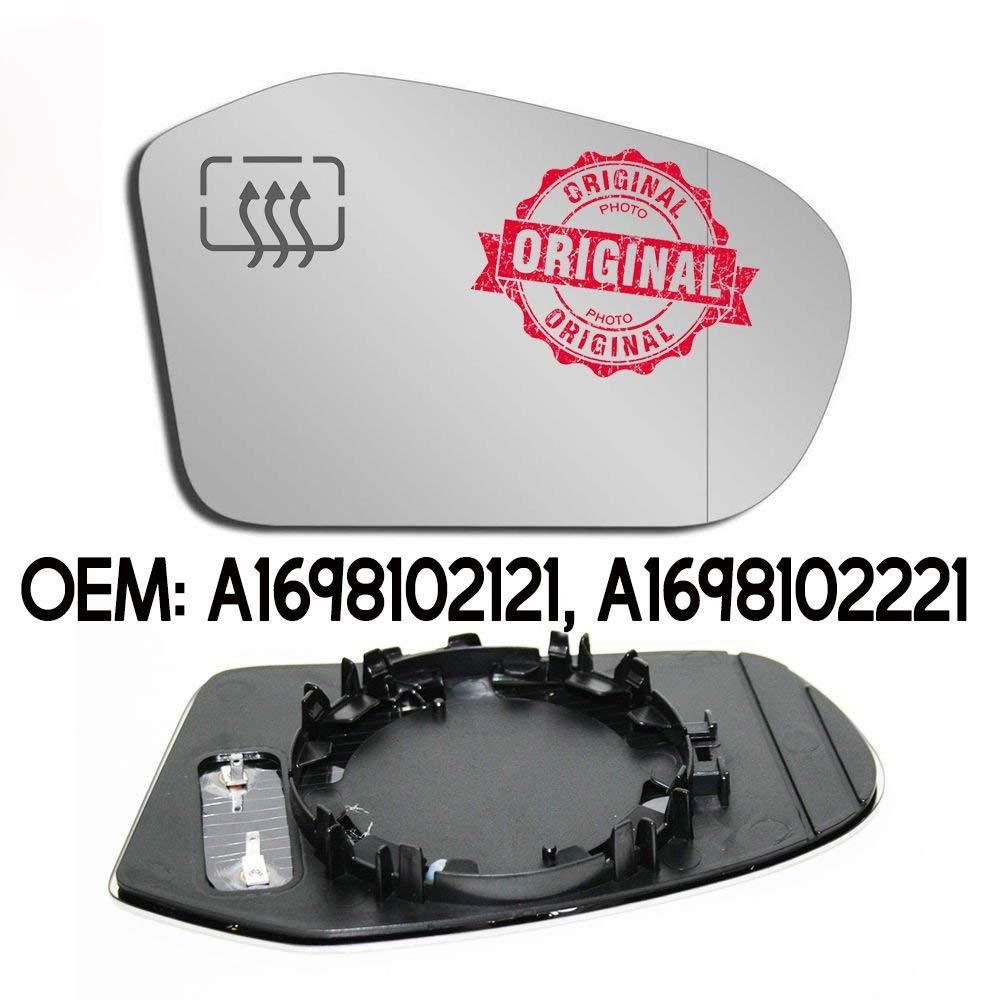 RHS Espejo retrovisor de gran angular para puerta con base y calefacci/ón para A-Class W169 Clase B W245 OEM A1698102121 A1698102221