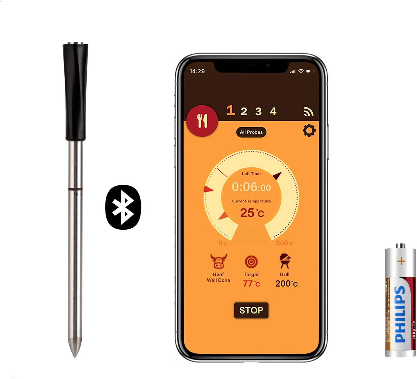 Wireless Meat Thermometer with Bluetooth and Digital Connectivity for Setting the Temperature on BBQ Oven Smoker, Meat Thermometer with 33ft for Setting a Timer on Stove Top Kitchen Rotisserie Grill