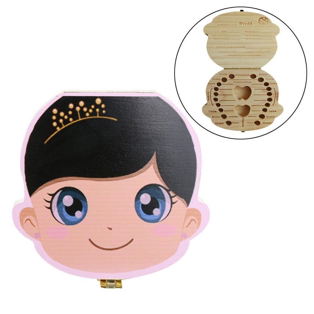 Ularma Organisateur de boîte à dents Les dents de lait de bébé sauvent Coffret de rangement en bois pour Enfants garçon Fille Version en français (Princesse)