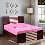 Queen Size Bed - by ComfyBean - Crona Bed - Engineered Wood - Bed with Headboard - with Storage (Woodpore Laminate Finish - BD04)