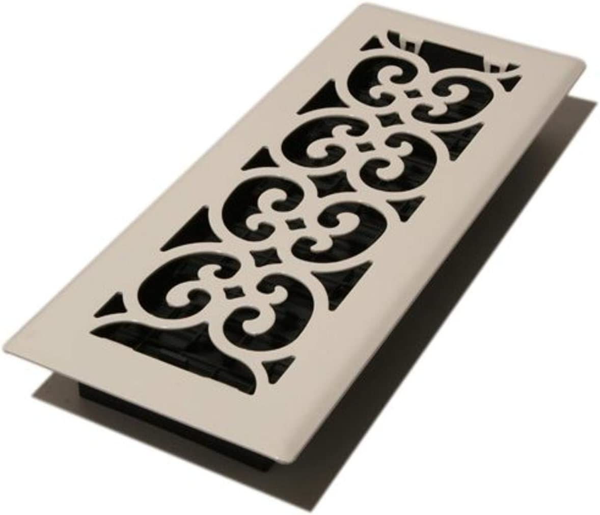 Decor Grates FS412-WH 4-Inch by 12-Inch Scroll Metal Floor Register, White