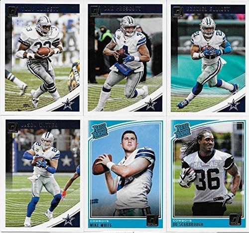 COWBOYS Gift Pack - 2015 Topps PLUS 2016, 2017 and 2018 Donruss Dallas Cowboys Football Card Team Sets (4 complete sets) with over 40 cards. Includes Dak Prescott (RC), Ezekiel Elliott (RC), Romo, Witten plus many more Rookies (RC), shipped in a brand new acrylic display case ()