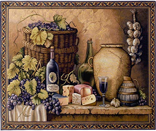 Pure Country Weavers Wine Tasting | Woven Tapestry Wall Art Hanging | Grapes and Cheese Still Life | 100% Cotton USA Size 34x26