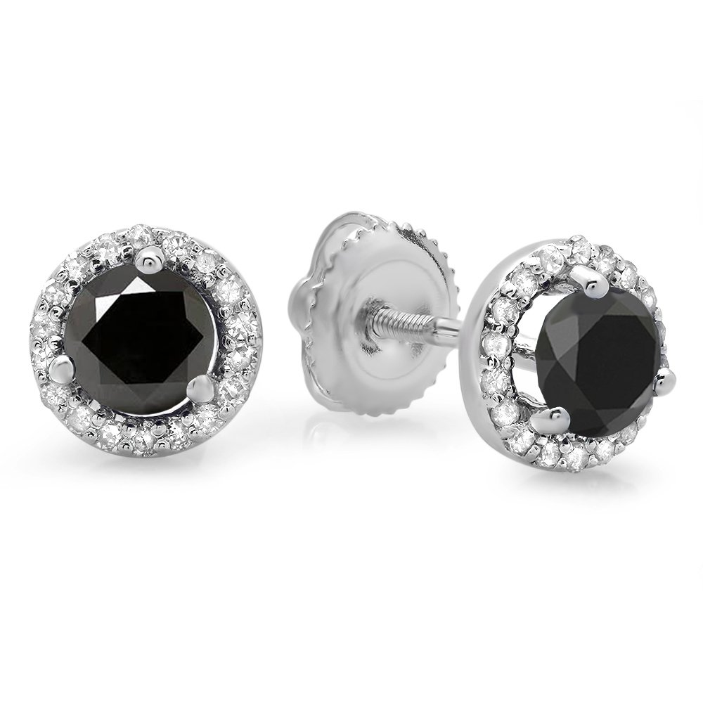 1.00 Carat (ctw) 14K White Gold Round Black & White Diamond Ladies Halo Style Stud Earrings 1 CT by DazzlingRock Collection