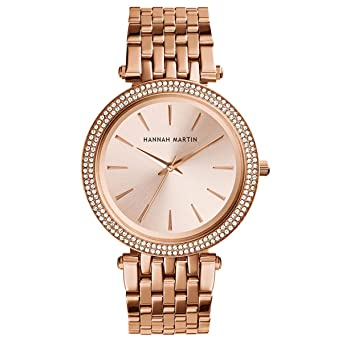 Hannah Martin Three-Hand Stainless Steel Diamond Wrist Watches (Rose Gold)